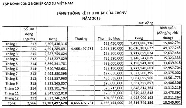 Bảng thống kê thu nhập của CBCNV tập đoàn Công nghiệp cao su Việt Nam năm 2015