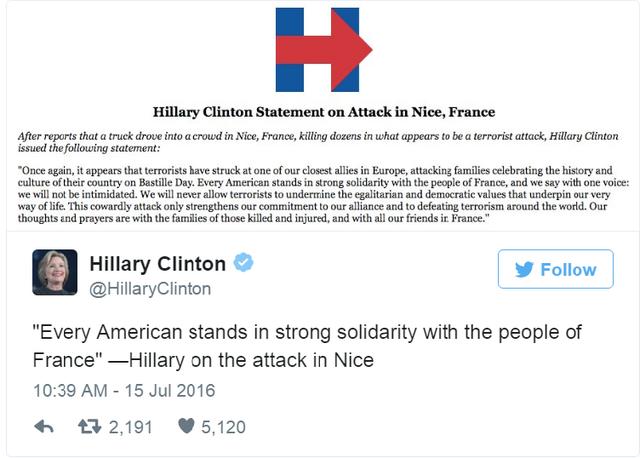 """""""Tất cả người dân Mỹ đều đứng cùng phía với người Pháp"""" – Bà Hillary nói về vụ tấn công tại Nice trên Twitter."""